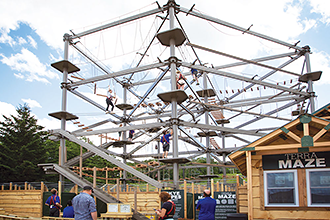 Ropes course above maze.