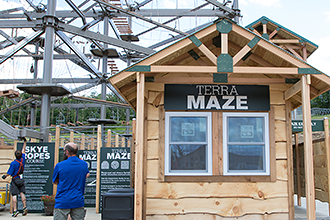 The entrance to Terra Maze where participants can maneuver through while family and friends take on the challenge above.