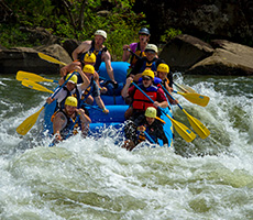 "Dropping into Hawaii 5-0 wave of ""Lost Paddle"", one of the Upper Gauley's Class V rapids"