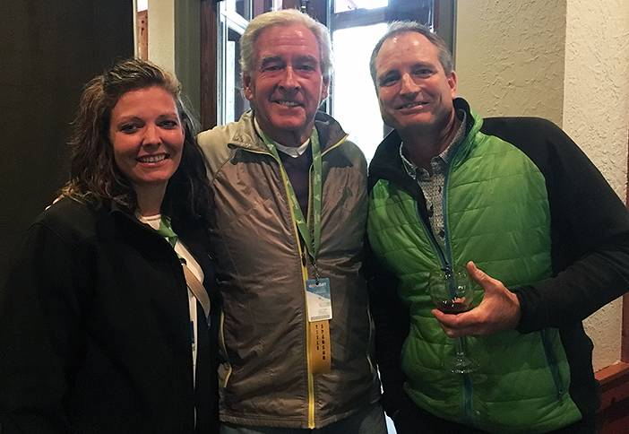 Jessica Weddell and Larry Hays from ADG chat with Eric Clyvik of ZipFlyer