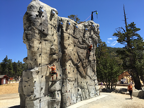 The outdoor climbing wall at the Heavenly Epic Discovery Center