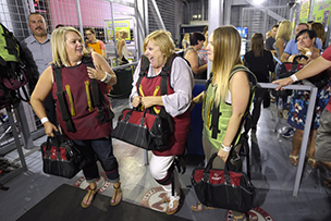 Pamella Siegel is joined by her daughters at SlotZilla as the one millionth rider (Sam Morris/Las Vegas News Bureau)