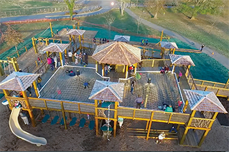 Several drones captured the soft opening of Everyone's Beanstalk Playground and its accessible features last January.