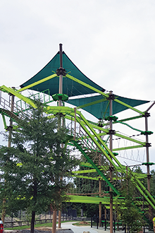 Above and Below: The new ropes course at the Hattiesburg Zoo in MIssissippi features a four-story attraction with 27 unique elements.