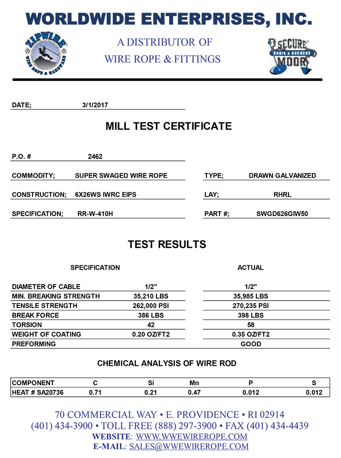 mill rope certificate