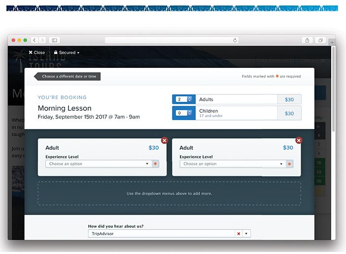 FareHarbor consumer-facing booking screen