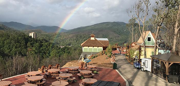 rainbow over park